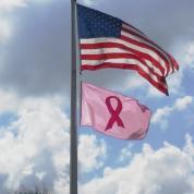 pink ribbon flag flying