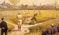 Flags flutter in the outfield in this 19th-century drawing