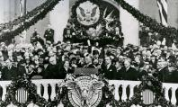 Surrounded by patriotic images, FDR takes his oath.