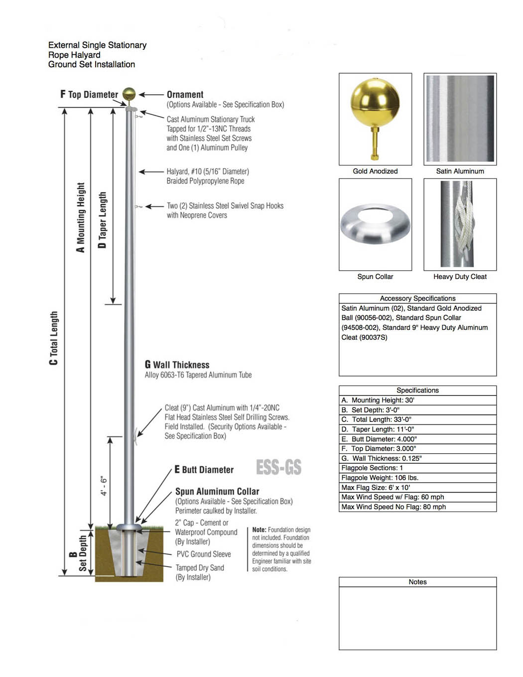 Satin Aluminum 30 ft Flagpole Specifications