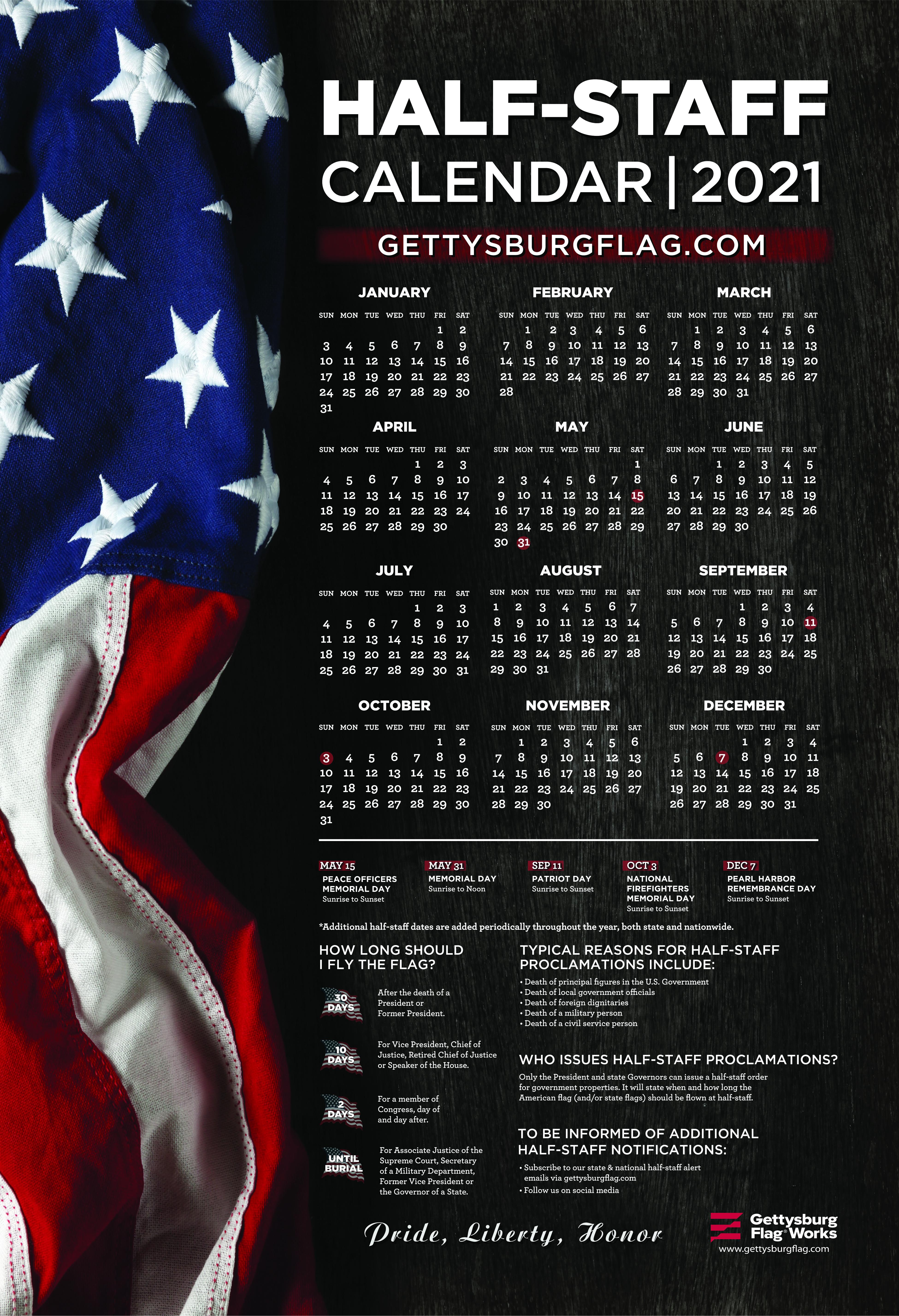 2021 Half-Staff Calendar