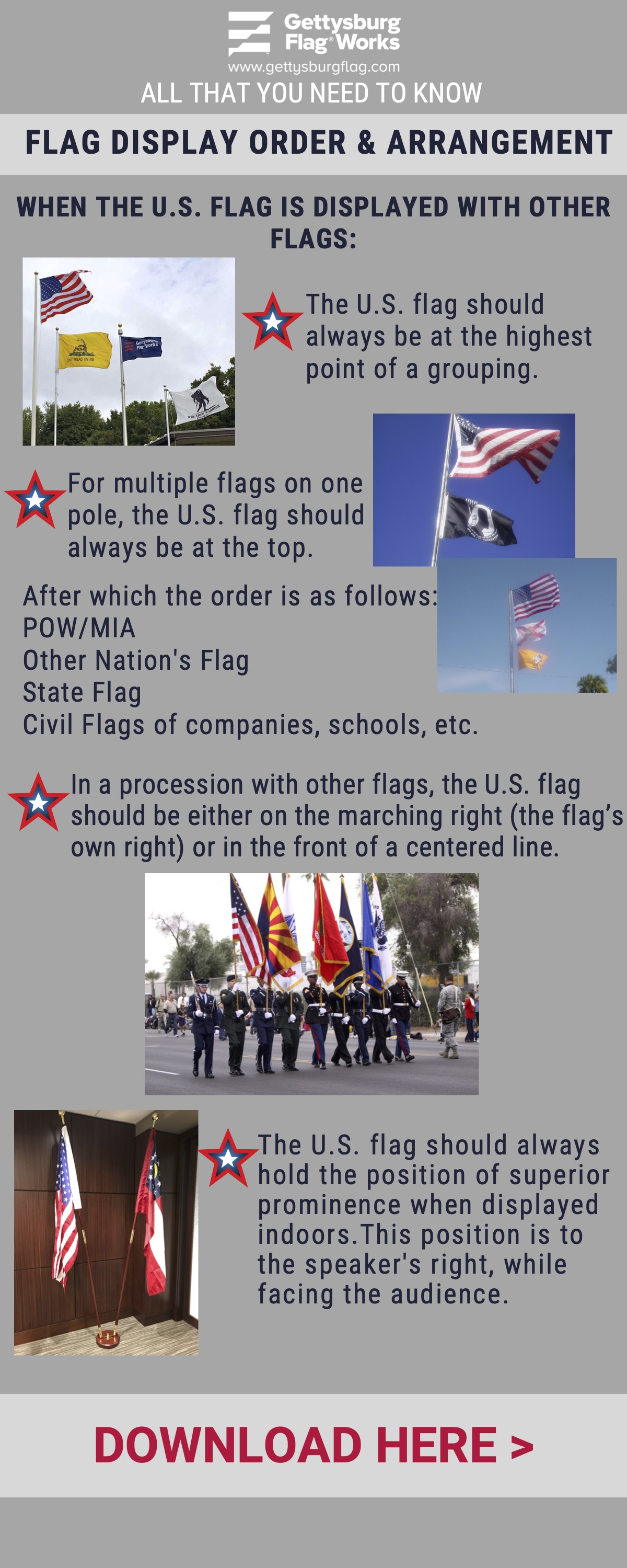 Displaying Flags Verticall Infographic