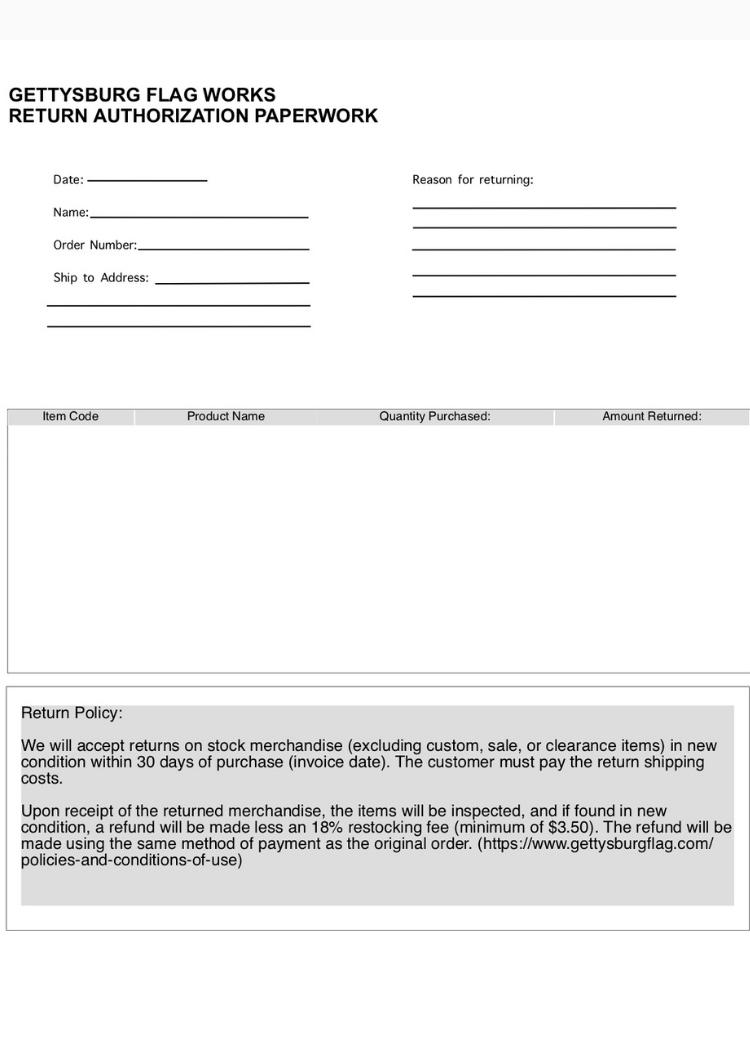Return Authorization Form