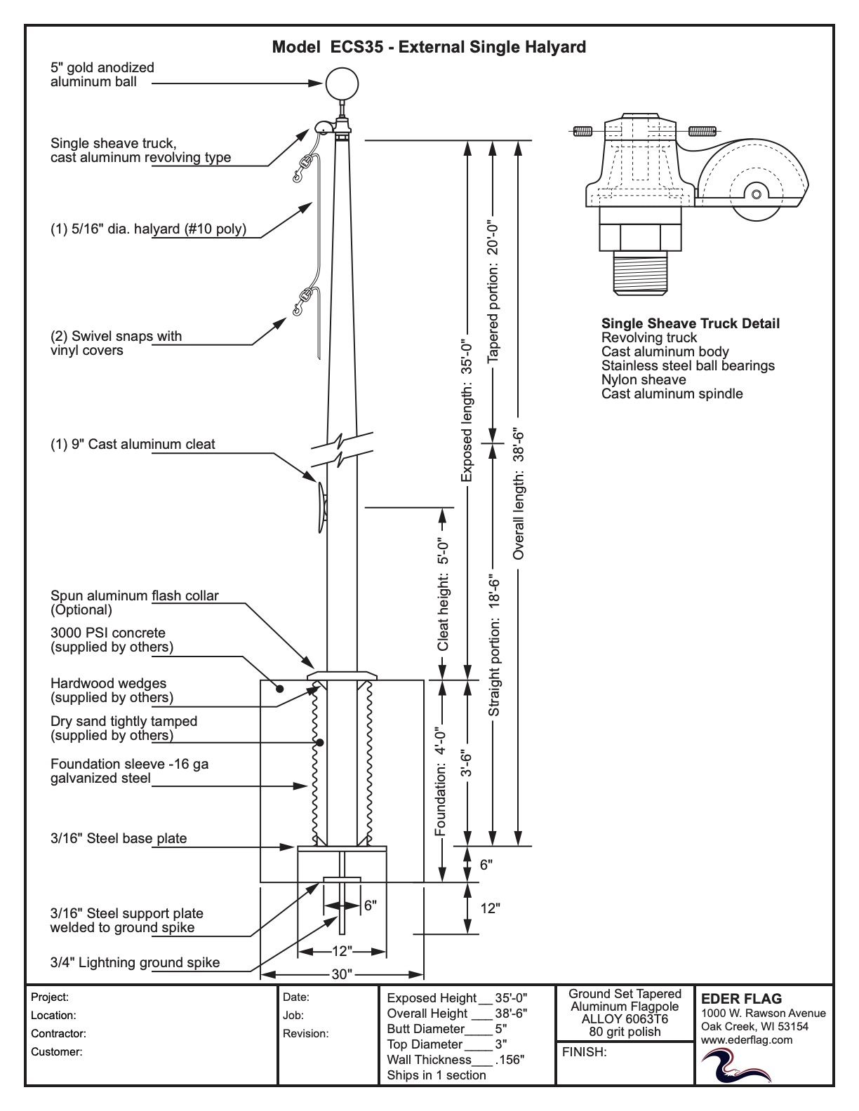 Aluminum Flagpole Specifications