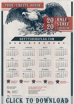 Half Staff Calendar 2020