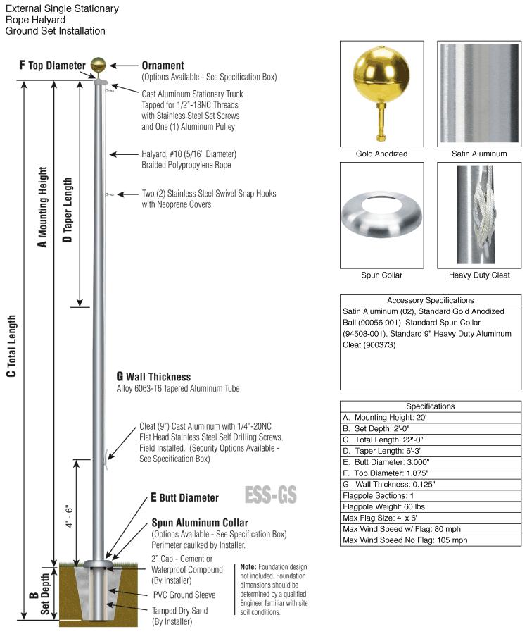 Aluminum Flagpole Specifications